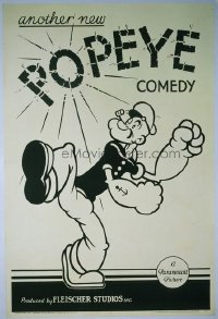 VHP7 054 ANOTHER NEW POPEYE COMEDY linen one-sheet movie poster '34 Fleischer