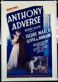 1018 ANTHONY ADVERSE linenbacked one-sheet movie poster '36 March, de Havilland