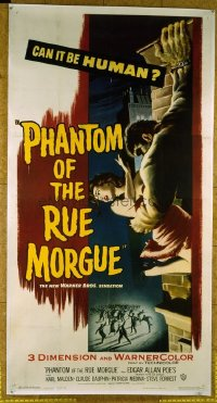 1009 PHANTOM OF THE RUE MORGUE linenbacked three-sheet movie poster '54 3D image!