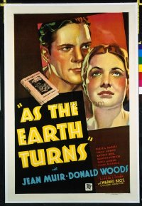 1019 AS THE EARTH TURNS linenbacked one-sheet movie poster '34 produced on litho!