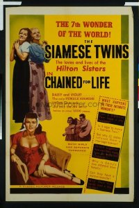 v383 CHAINED FOR LIFE  1sh '51 Hilton Siamese Twins!