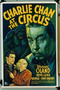 065 CHARLIE CHAN AT THE CIRCUS paperbacked 1sheet