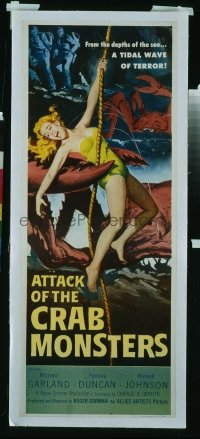 VHP7 404 ATTACK OF THE CRAB MONSTERS insert movie poster '57 girl in claw!