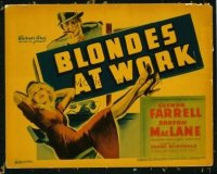 1118 BLONDES AT WORK title lobby card '38 Glenda Farrell NOT working!