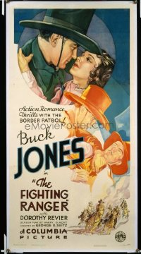 t388 FIGHTING RANGER linen three-sheet movie poster '34 Buck Jones, Reiver