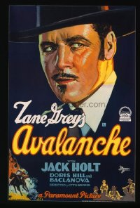 122 AVALANCHE ('28) paperbacked 1sheet