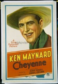 #137 CHEYENNE linen one-sheet movie poster '29 great Ken Maynard close up!!