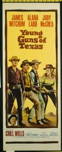 t361 YOUNG GUNS OF TEXAS insert movie poster '63 Mitchum,Ladd,McCrea