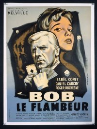 VHP7 416 BOB LE FLAMBEUR linen French movie poster '55 Jean-Pierre Melville