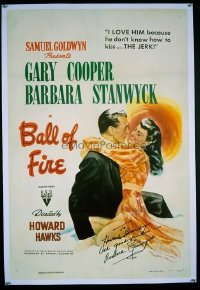 #260 BALL OF FIRE signed 1sh '41 Gary Cooper!