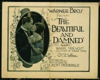 1116 BEAUTIFUL & THE DAMNED title lobby card '22 Marie Prevost