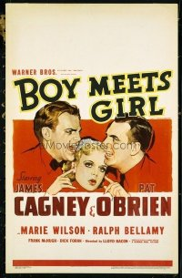 3108 BOY MEETS GIRL window card '38 James Cagney, Pat O'Brien