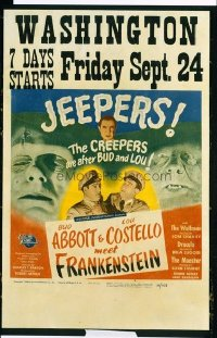 VHP7 097 ABBOTT & COSTELLO MEET FRANKENSTEIN window card movie poster '48 Lugosi