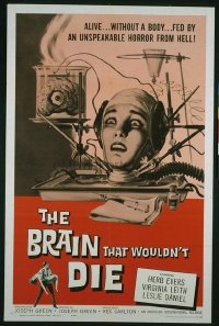 VHP7 349 BRAIN THAT WOULDN'T DIE one-sheet movie poster '62 classic image!