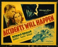 1102 ACCIDENTS WILL HAPPEN title lobby card '38 Reagan, cool image!