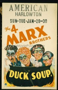 #170 DUCK SOUP window card '33 The 4 Marx Brothers, Groucho!!