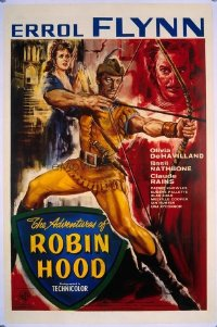#284 ADVENTURES OF ROBIN HOOD linen English 1sh R50s Errol Flynn, Olivia De Havilland, different!