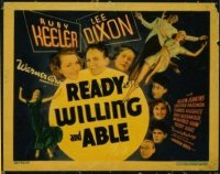 1302 READY, WILLING & ABLE title lobby card '37 Ruby Keeler dances!