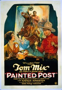 #227 PAINTED POST 1sheet28 Tom Mix painting!