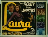 #106 LAURA 1/2sheet '44 Gene Tierney, Andrews