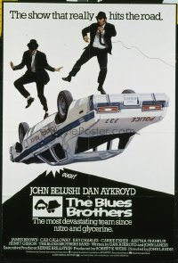 749 BLUES BROTHERS English 1sh '80 art of Belushi & Aykroyd singing & dancing on police car!