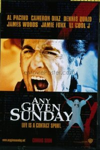 4606 ANY GIVEN SUNDAY teaser one-sheet movie poster '99 Al Pacino, Diaz