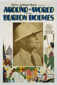 #140 AROUND THE WORLD WITH BURTON HOLMES linen one-sheet movie poster '22!