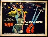 VHP7 396 ASTOUNDING SHE MONSTER half-sheet movie poster '58 AIP