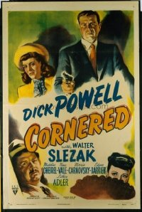 #114 CORNERED 1sheet46 Dick Powell, film noir