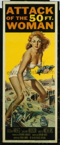 VHP7 398 ATTACK OF THE 50 FT WOMAN insert movie poster '58 classic image!