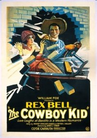 #245 COWBOY KID 1sh '28 Rex Bell driving car!