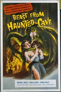 #313 BEAST FROM HAUNTED CAVE one-sheet movie poster '59 ultra sexy girl!!
