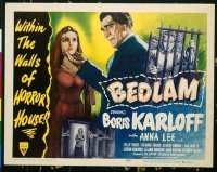 #127 BEDLAM title lobby card '46 Boris Karloff, Anna Lee, Val Lewton!