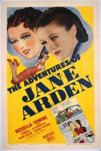 1017 ADVENTURES OF JANE ARDEN linenbacked one-sheet movie poster '39 comic strip!