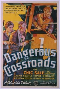 #287 DANGEROUS CROSSROADS 1sh '33 Railroads!