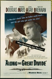 1505 ALONG THE GREAT DIVIDE one-sheet movie poster '51 Kirk Douglas, Mayo