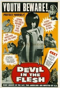 v281 DEVIL IN THE FLESH ('67) linen 1sh '67 anti-VD flick!