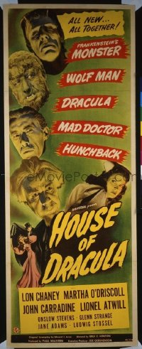 #004 HOUSE OF DRACULA insert movie poster '45 Lon Chaney Jr, Strange!