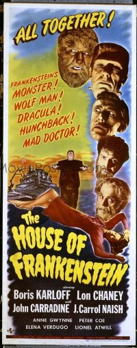 #003 HOUSE OF FRANKENSTEIN insert movie poster '44 Karloff, Chaney!