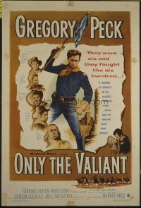 1575 ONLY THE VALIANT one-sheet movie poster '51 Gregory Peck, Payton
