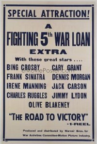 1056 ROAD TO VICTORY linenbacked one-sheet movie poster '44 Sinatra, Crosby, Grant