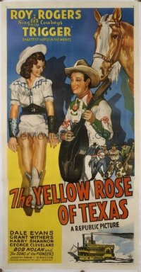 t363 YELLOW ROSE OF TEXAS linen three-sheet movie poster '44 Roy Rogers, Evans