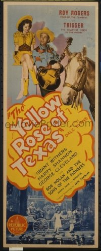 t369 YELLOW ROSE OF TEXAS insert movie poster '44 Roy Rogers, Evans