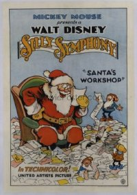 v319 SANTA'S WORKSHOP linen 1sh '32 Walt Disney classic!