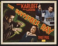 #088 INVISIBLE RAY title lobby card R48 Boris Karloff, Bela Lugosi!