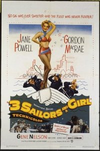 1501 3 SAILORS & A GIRL one-sheet movie poster '54 super sexy Jane Powell!