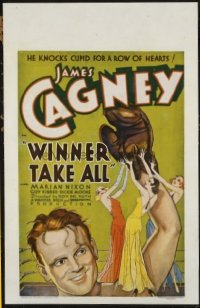 #145 WINNER TAKE ALL window card '32 James Cagney, boxing!!