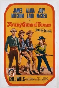 t355 YOUNG GUNS OF TEXAS linen one-sheet movie poster '63 Mitchum, Ladd