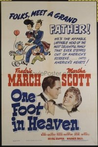 1574 ONE FOOT IN HEAVEN one-sheet movie poster '41 Fredric March, Scott