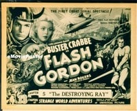 VHP7 072 FLASH GORDON ch5 title lobby card '36 Buster Crabbe serial!